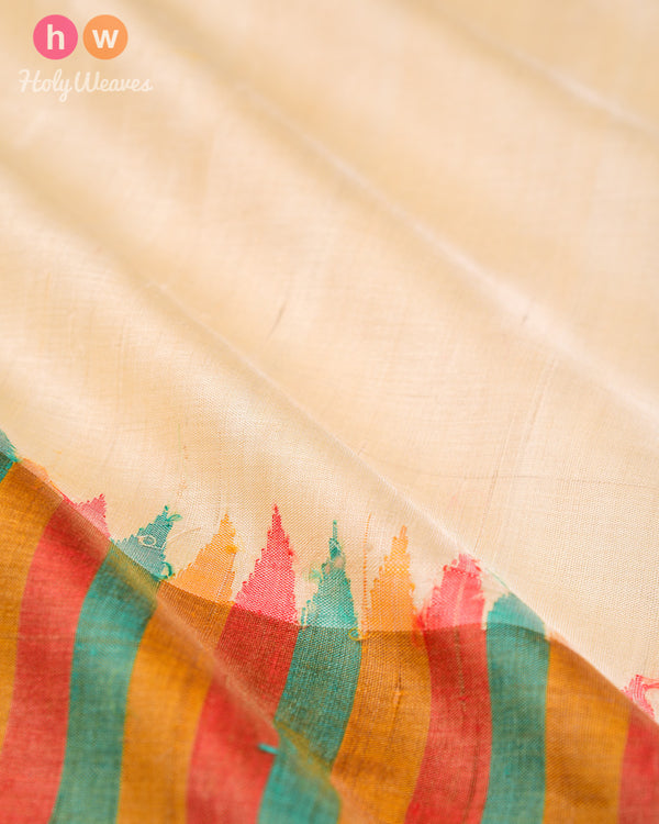 Cream Tasar Silk Fabric with Colourful Border- HolyWeaves