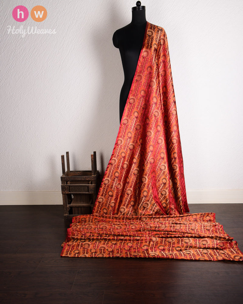 Maroon Banarasi Jamawar (जामावार) Handwoven Silk Fabric- HolyWeaves