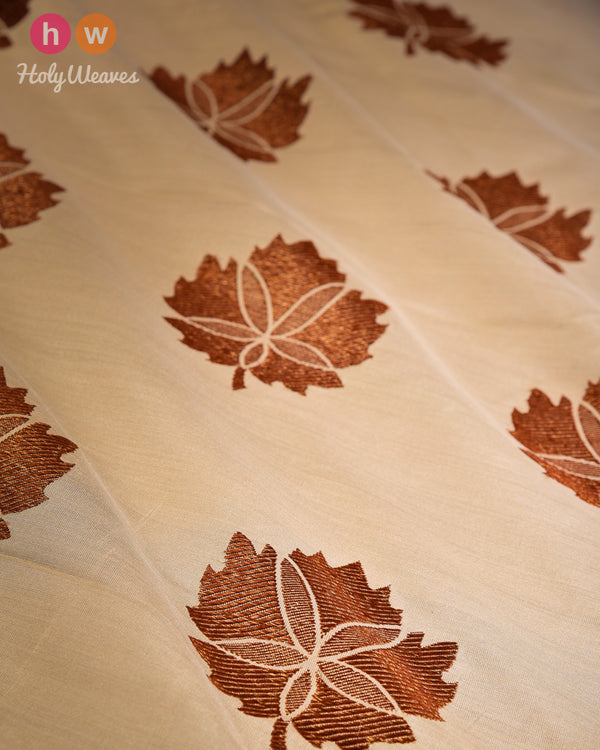 Beige Kadhuan (कढ़ुआँ) Brocade Handwoven Muga Silk Fabric- HolyWeaves