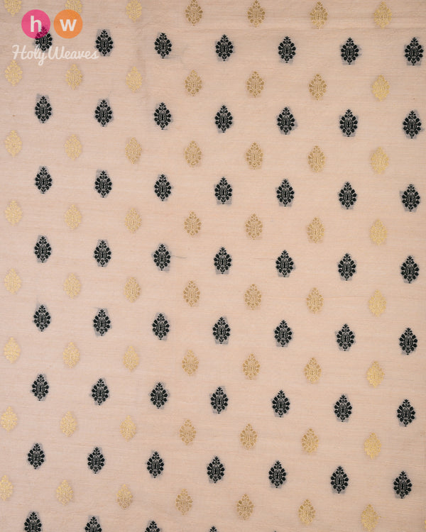 Beige Cutwork Brocade Handwoven Cotton Silk Fabric - HolyWeaves