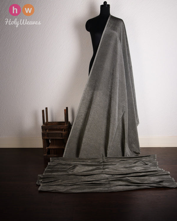 Gray Plain Woven Linen Silk Fabric- HolyWeaves