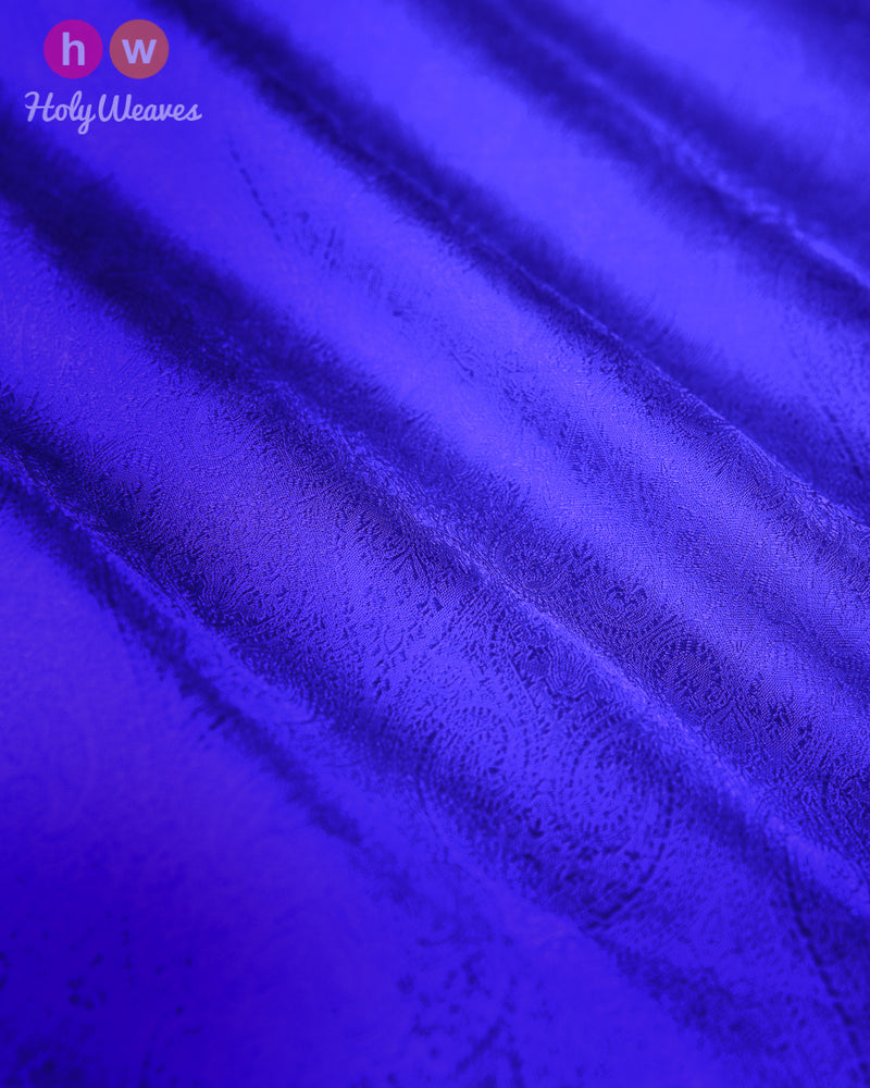 Blue Banarasi Tanchoi Handwoven Silk Fabric- HolyWeaves