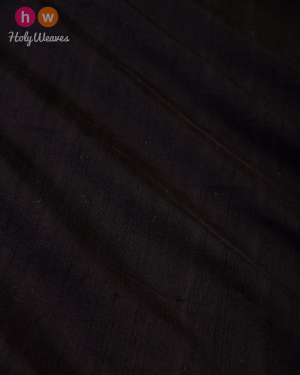 Black Handwoven Plain Raw Silk Fabric- HolyWeaves