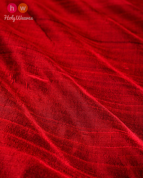 Maroon Handwoven Plain Raw Silk Fabric - HolyWeaves