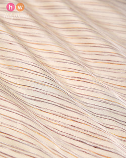 Cream Khichha Striped Plain Woven Silk Fabric- HolyWeaves