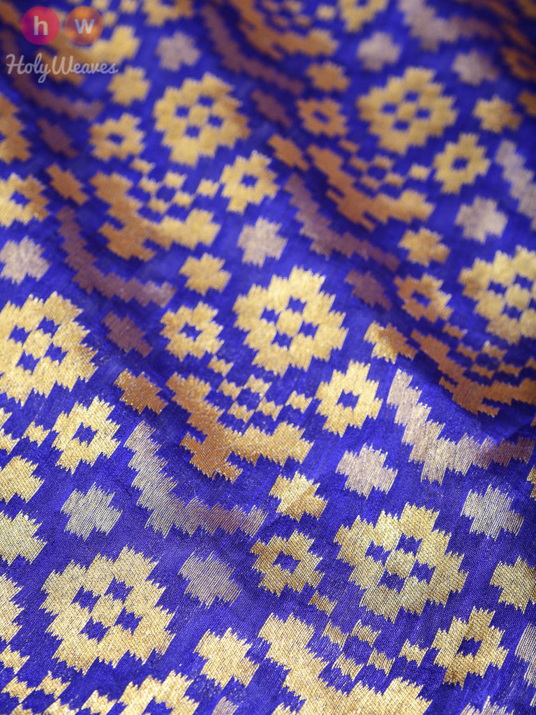 Blue Dupion Silk Cutwork Brocade Handwoven Fabric - HolyWeaves