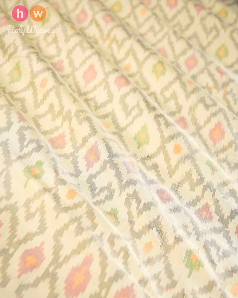 Cream Pochampally Ikat Handwoven Silk Fabric - HolyWeaves