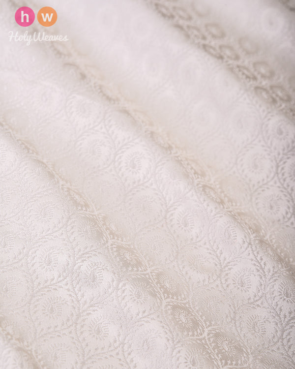 Cream Handwoven Silk Tanchoi Fabric - HolyWeaves