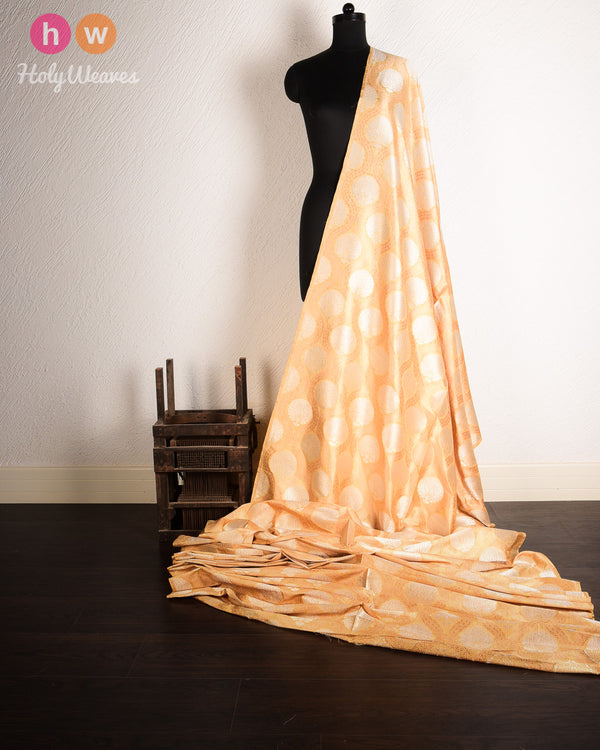 Beige Banarasi Sona-Rupa Alfi (अल्फ़ी) Cutwork Brocade Handwoven Dupion Silk Fabric- HolyWeaves