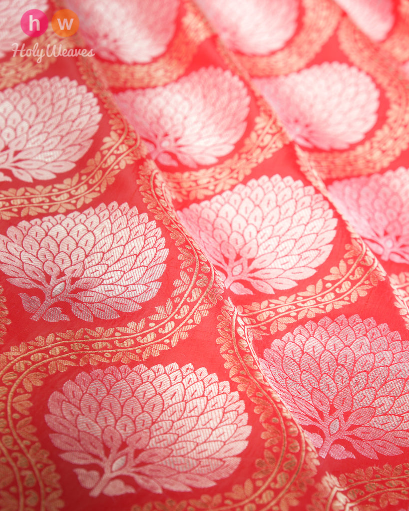 Red Dupion  Silk Cutwork Brocade Handwoven Fabric