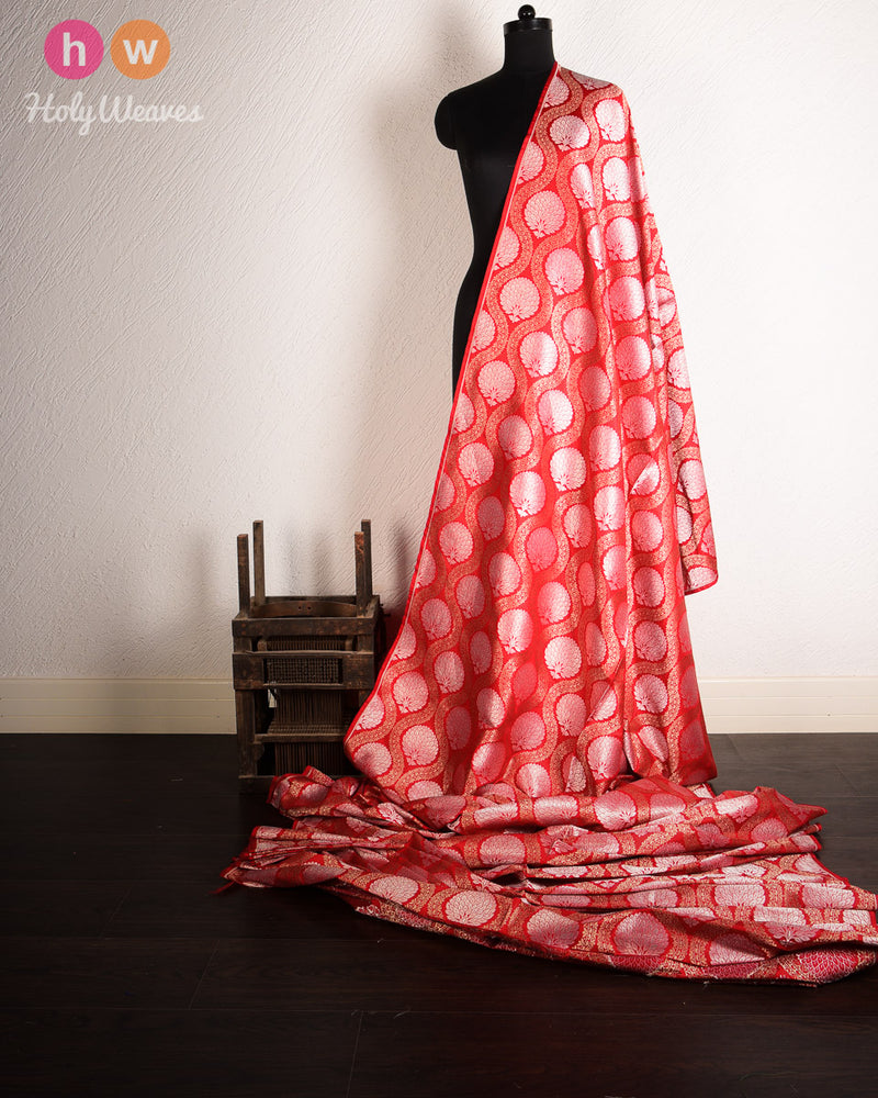 Red Dupion  Silk Cutwork Brocade Handwoven Fabric - HolyWeaves