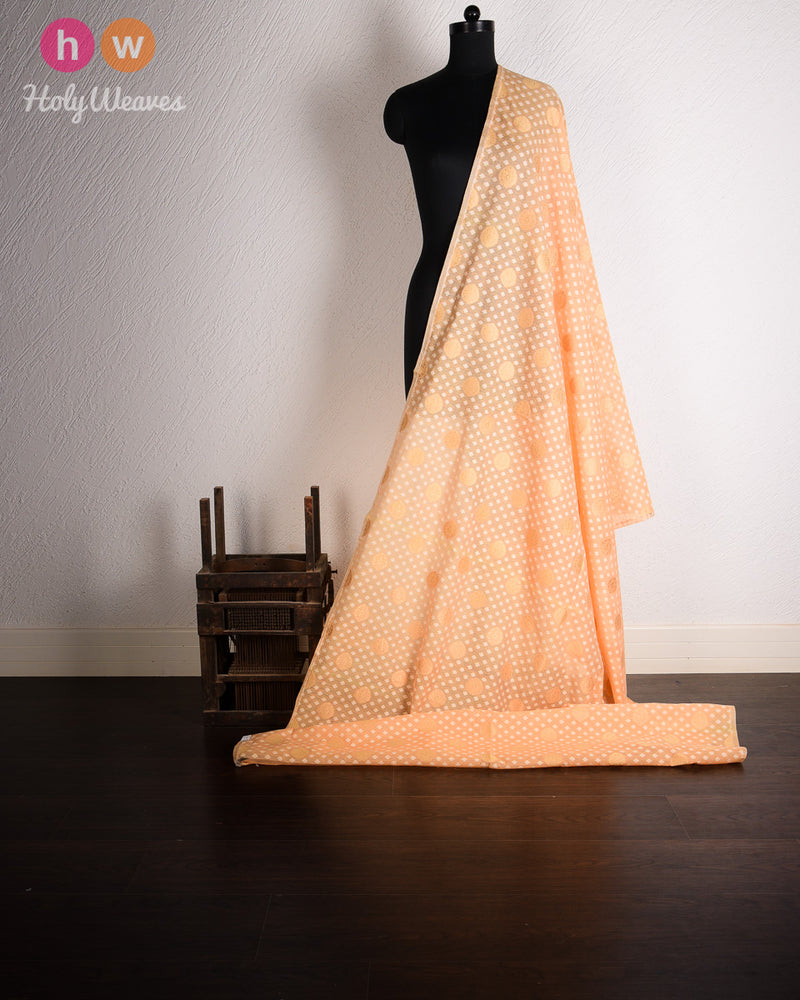 Beige-Peach Banarasi Cutwork Brocade Handwoven Cotton Silk Fabric - HolyWeaves