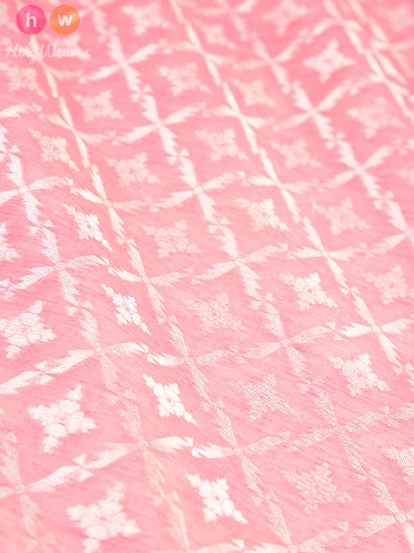 Peach Cotton Silk Cutwork Brocade Handwoven Fabric - HolyWeaves