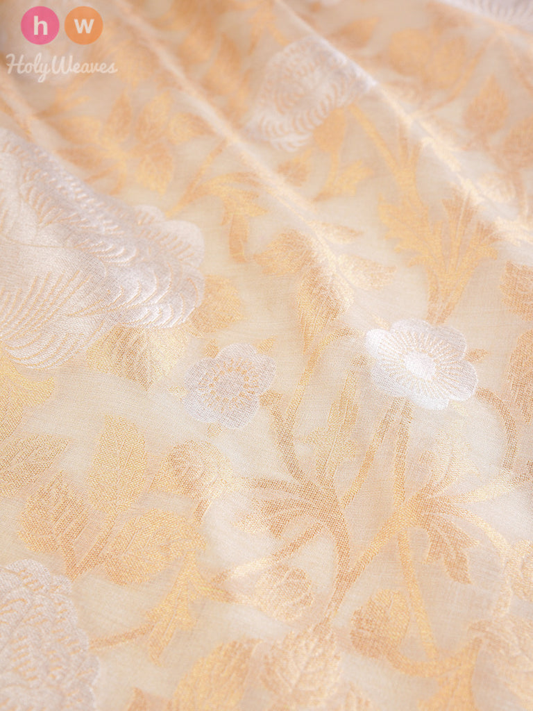 White Muga Silk Cutwork Brocade Handwoven Fabric - HolyWeaves