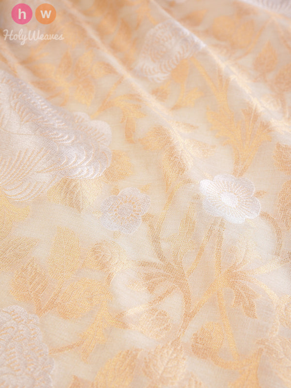 Beige Muga Silk Cutwork Brocade Gold-Silver Alfi (अल्फ़ी) Handwoven Fabric - HolyWeaves