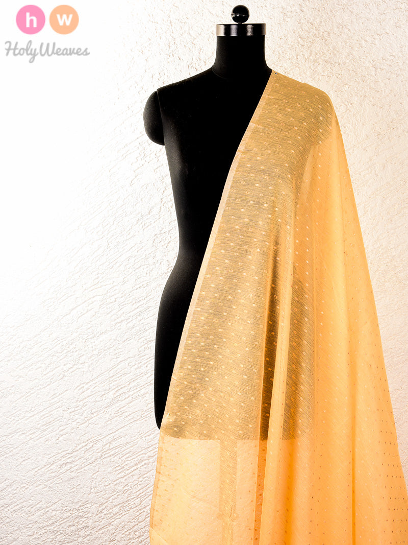 Beige Cotton Silk Cutwork Brocade Handwoven Fabric - HolyWeaves