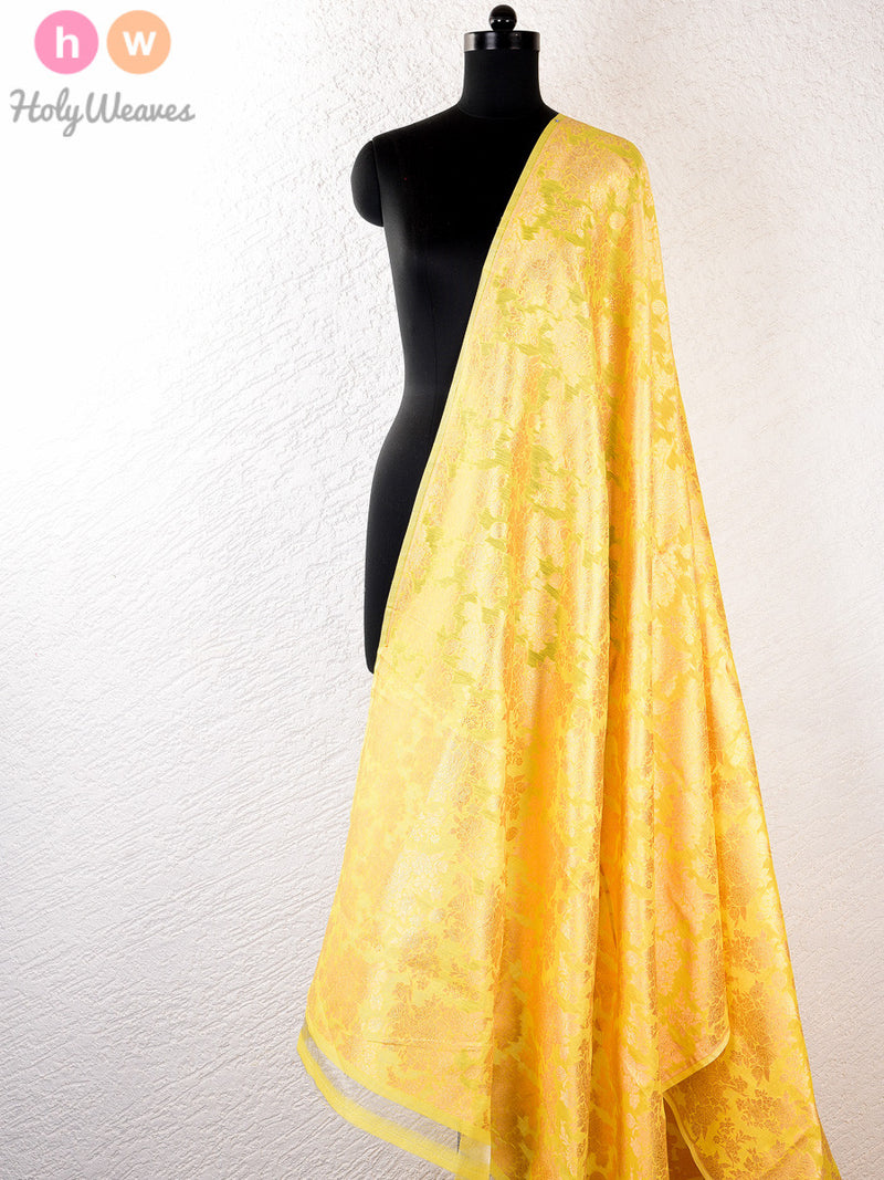 Yellow Cotton Silk Cutwork Brocade Handwoven Fabric - HolyWeaves