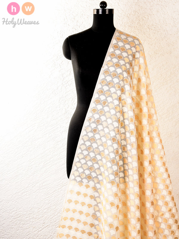 Cream Cotton Silk Cutwork Brocade Handwoven Fabric - HolyWeaves