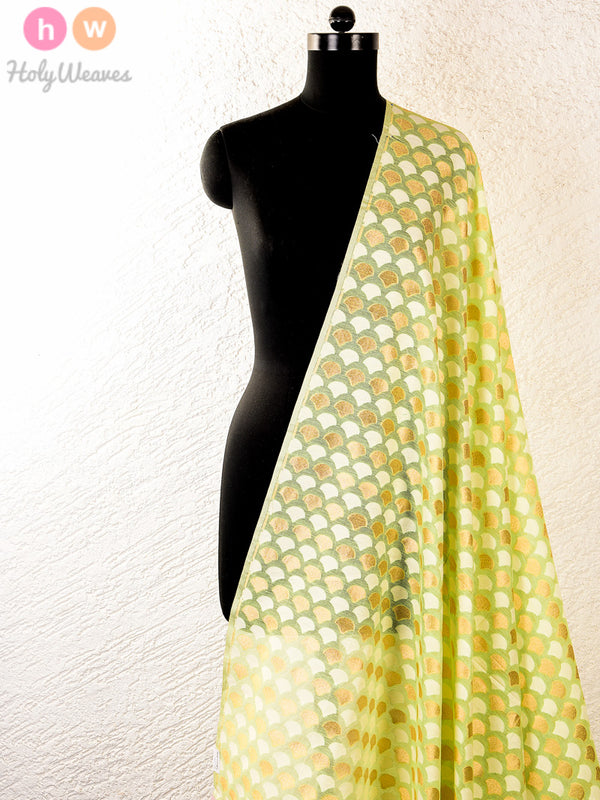 Green Cotton Silk Cutwork Brocade Handwoven Fabric - HolyWeaves