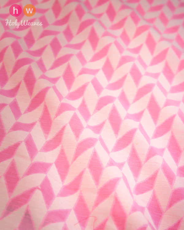 Light Pink Banarasi Cutwork Brocade Handwoven Cotton Silk Fabric - HolyWeaves
