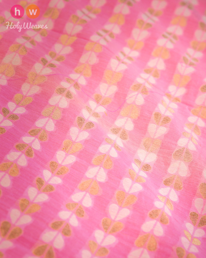 Pink Banarasi Cutwork Brocade Handwoven Cotton Silk Fabric - HolyWeaves