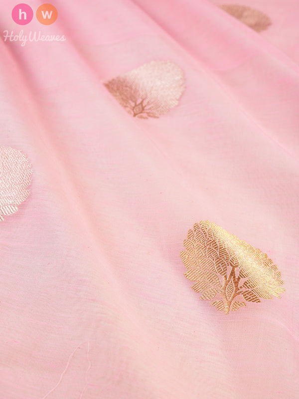 Pink Cotton Silk Cutwork Brocade Handwoven Fabric- HolyWeaves