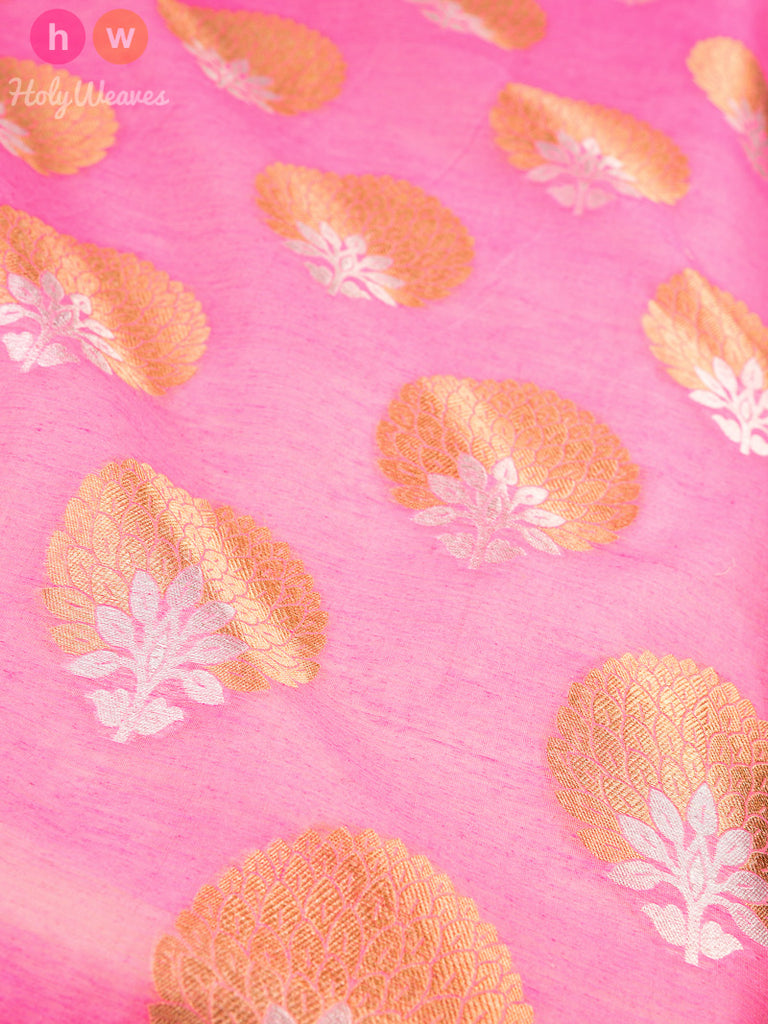 Pink Cotton Silk Cutwork Brocade Handwoven Fabric - HolyWeaves