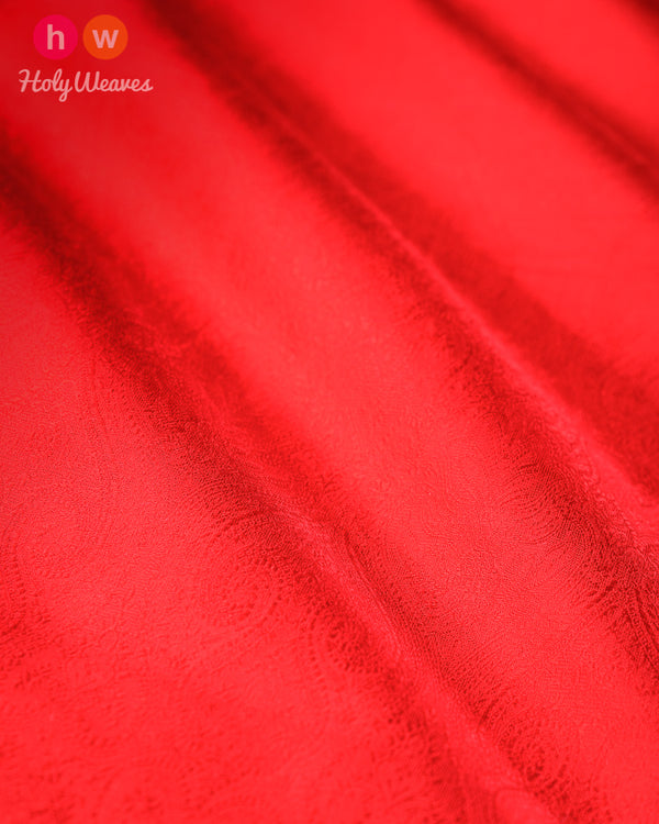 Red Banarasi Tanchoi Handwoven Silk Fabric- HolyWeaves