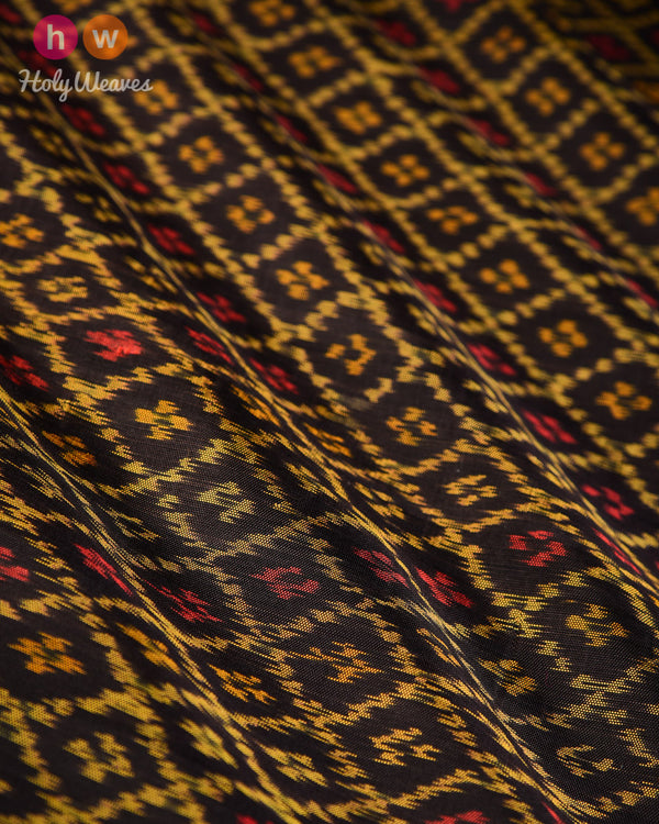 Black Patola Ikat Handwoven Silk Fabric - HolyWeaves