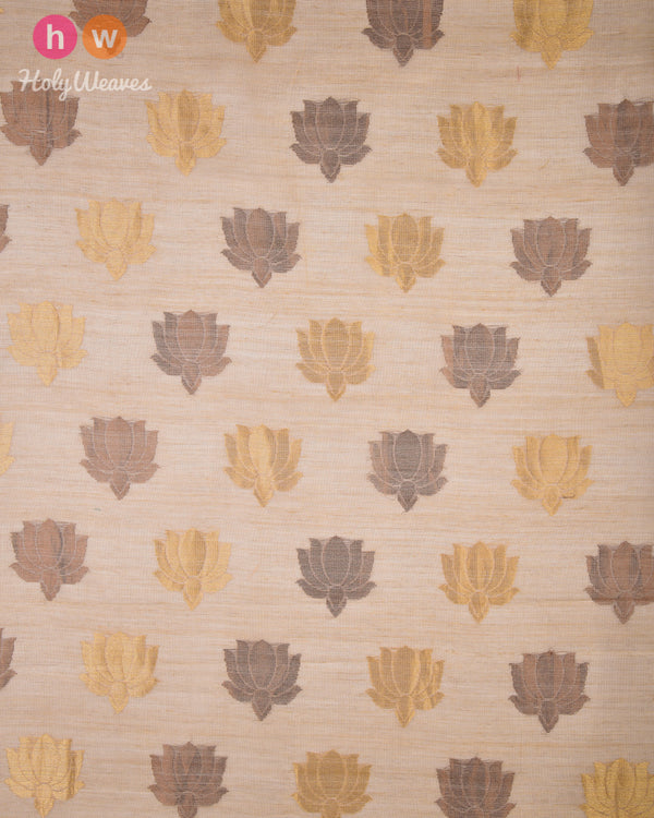 Beige Kadhuan (कढ़ुआँ) Brocade Handwoven Resham Muga Silk Fabric- HolyWeaves