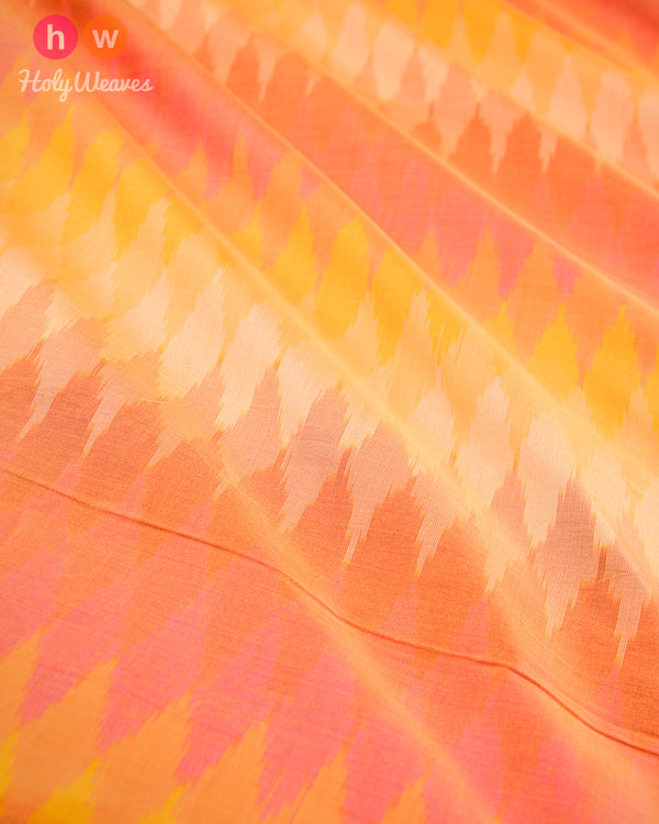Multi-color (Light) Pochampally Ikat Handwoven Cotton Silk Fabric- HolyWeaves