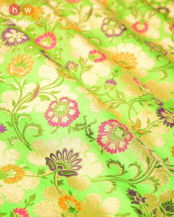 Green Kimkhwab Brocade Handwoven Viscose Silk Fabric - HolyWeaves