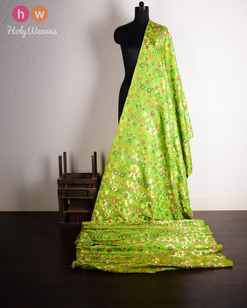 Green Kimkhwab Brocade Handwoven Viscose Silk Fabric- HolyWeaves