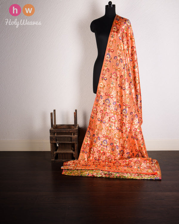 Orange Kimkhwab Brocade Handwoven Viscose Silk Fabric- HolyWeaves