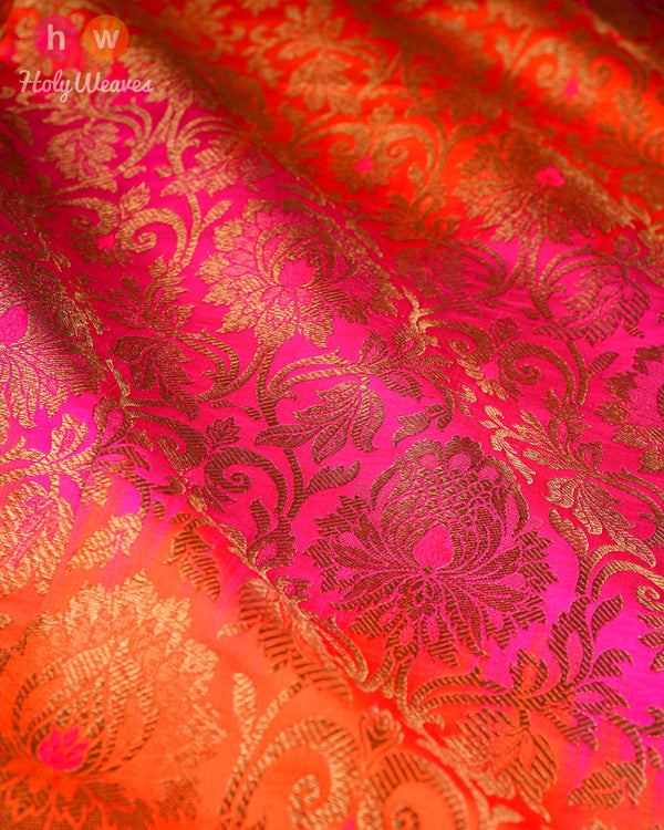 Multi-color Kimkhwab Brocade Handwoven Viscose Silk Fabric- HolyWeaves