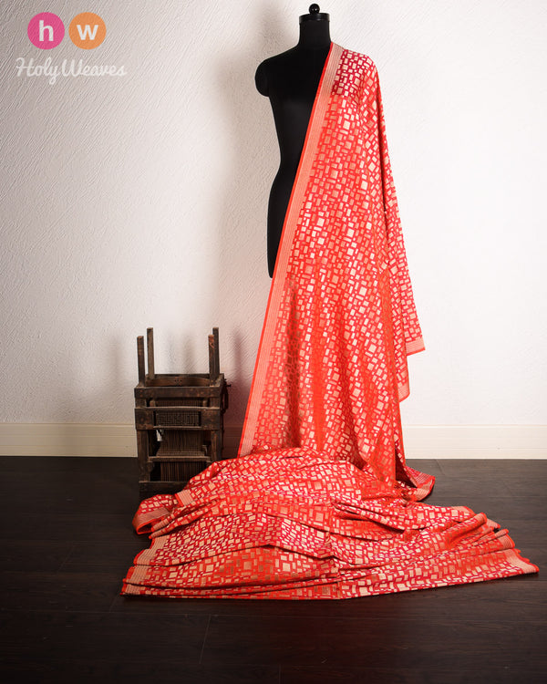 Red-Orange Banarasi Cutwork Brocade Handwoven Katan (कतान) Georgette Fabric- HolyWeaves