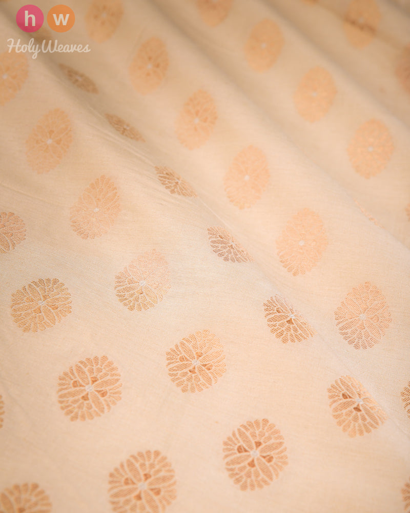 Beige Banarasi Cutwork Brocade Handwoven Muga Silk Fabric- HolyWeaves