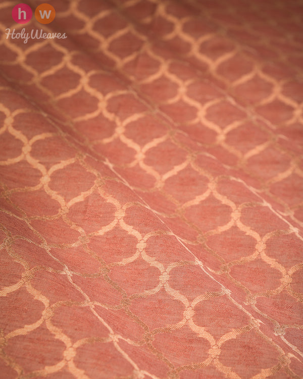 Rosy Brown Banarasi Cutwork Brocade Handwoven Resham Muga Silk Fabric- HolyWeaves