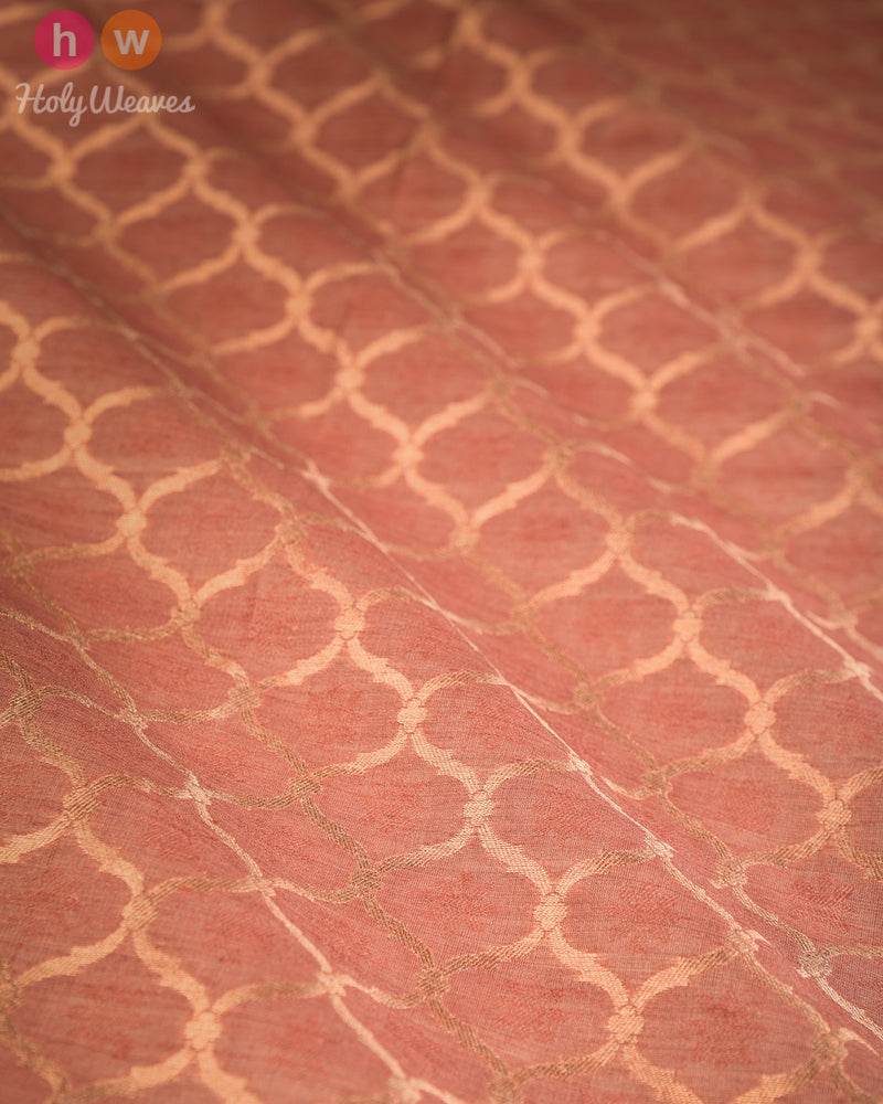 Rosy Brown Banarasi Cutwork Brocade Handwoven Resham Muga Silk Fabric - HolyWeaves