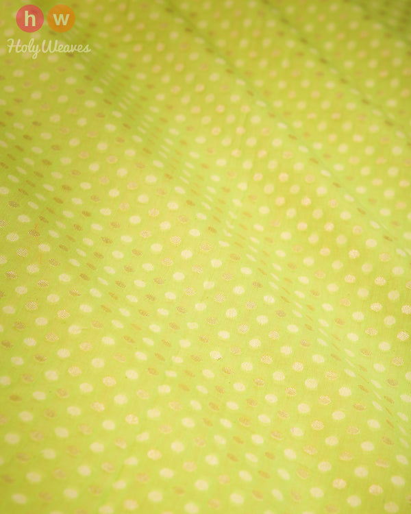 Green Banarasi Cutwork Brocade Handwoven Cotton Silk Fabric- HolyWeaves