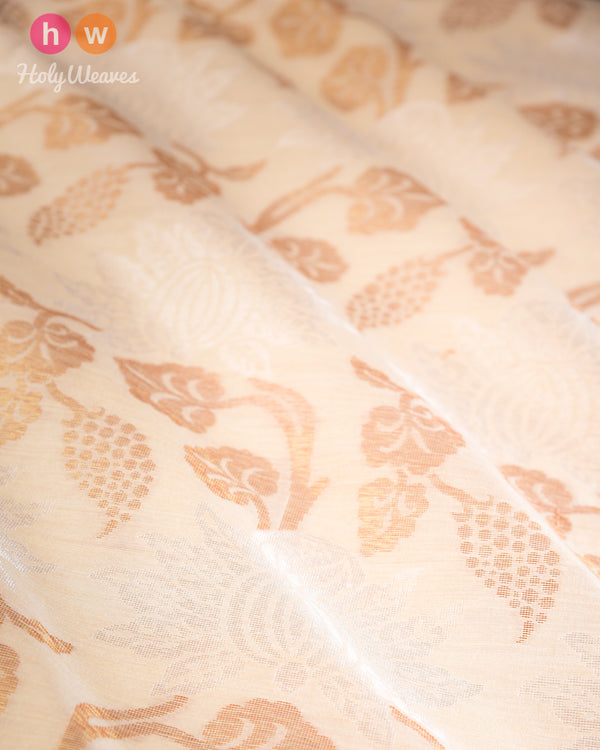 Beige Cutwork Brocade Handwoven Resham Muga Gold-Silver Silk Fabric- HolyWeaves