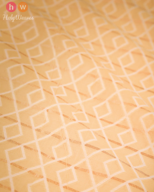 Beige-Yellow Banarasi Cutwork Brocade Handwoven Cotton Silk Fabric - HolyWeaves