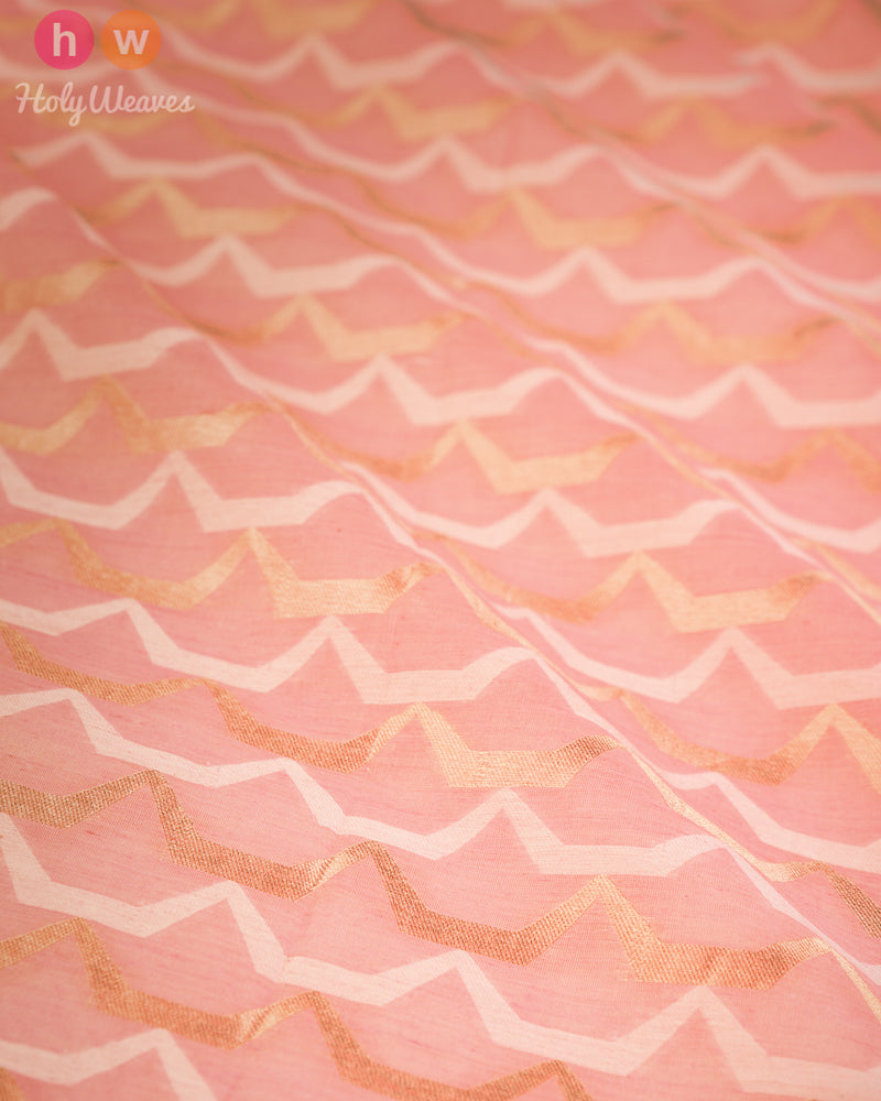 Peach-Pink Banarasi Cutwork Brocade Handwoven Cotton Silk Fabric- HolyWeaves