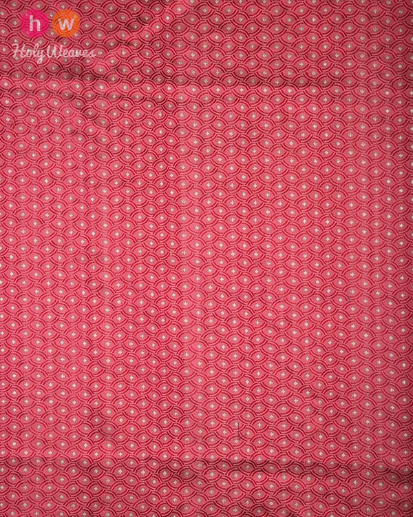 Salmon Pink Handwoven Silk Tanchoi Brocade Fabric- HolyWeaves