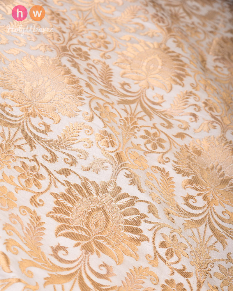 Cream Cutwork Brocade Handwoven Viscose Silk Kimkhwab Fabric- HolyWeaves