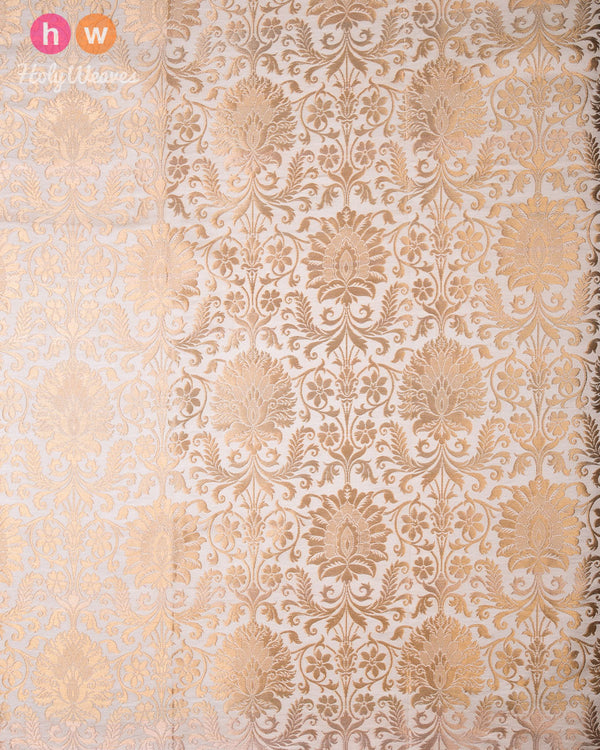 Cream Cutwork Brocade Handwoven Viscose Silk Kimkhwab Fabric - HolyWeaves