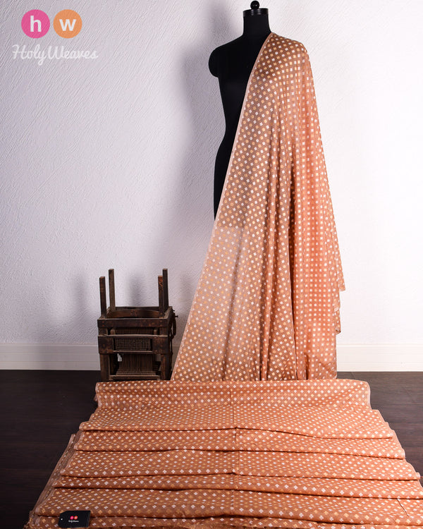 Beige Banarasi Cutwork Brocade Handwoven Cotton Silk Fabric - HolyWeaves