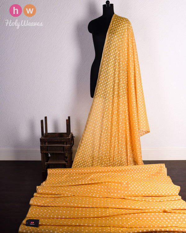 Yellow Banarasi Cutwork Brocade Handwoven Cotton Silk Fabric - HolyWeaves