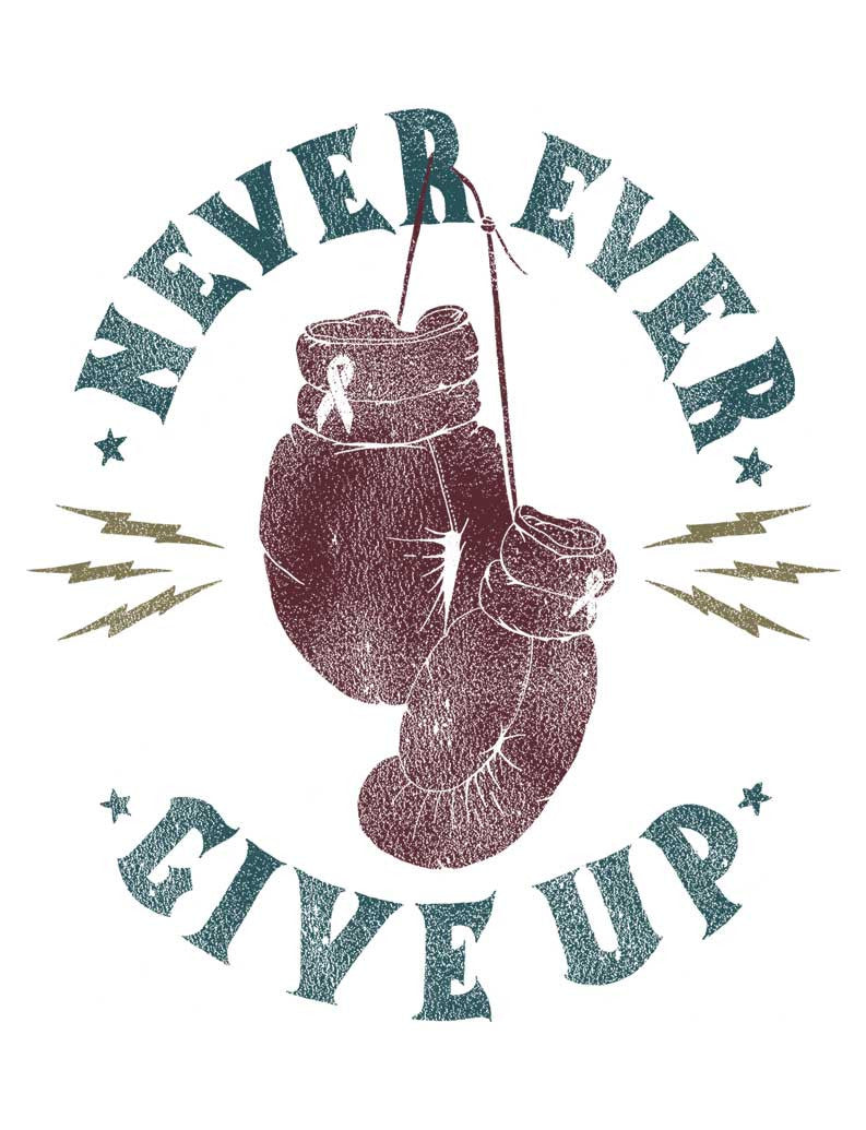 Never Ever Give Up Triblend Racerback Tank