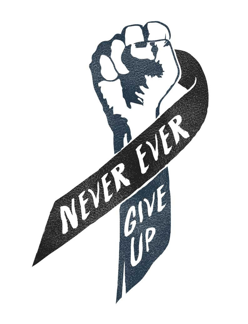 Never Ever Give Up Ribbon Triblend Racerback Tank